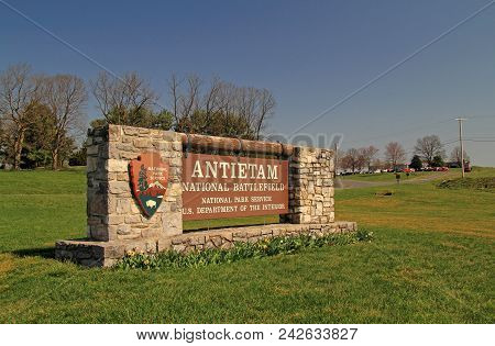 Sharpsburg, Md - April 14: A Large And Elaborate Stone And Wood Sign Welcomes Visitors To Antietam N
