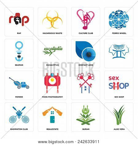 Set Of 16 Simple Editable Icons Such As Aloe Vera, Quran, Realestate, Badminton Club, Sex Shop, Rap,