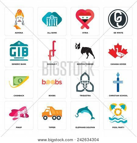 Set Of 16 Simple Editable Icons Such As Pool Party, Elephand Dolphin, Tipper, Pinup, Christian Schoo