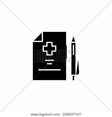 Medical Prescription Black Icon Concept. Medical Prescription Flat  Vector Website Sign, Symbol, Ill