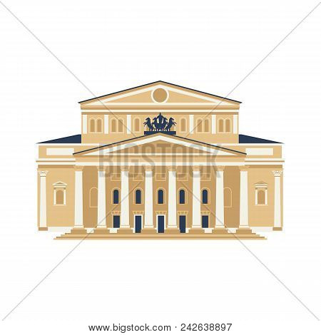 Moscow City Symbol. Bolshoy Theatre Isolated On White Background. Travel Icon Vector Flat Collection