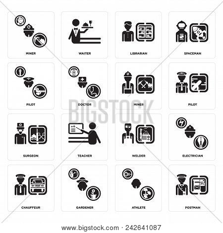 Set Of 16 Simple Editable Icons Such As Postman, Athlete, Gardener, Chauffeur, Electrician, Miner, P