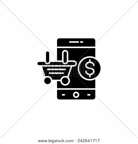 Mobile Shopping Black Icon Concept. Mobile Shopping Flat  Vector Website Sign, Symbol, Illustration.