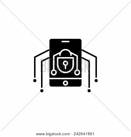 Mobile Threats Black Icon Concept. Mobile Threats Flat  Vector Website Sign, Symbol, Illustration.
