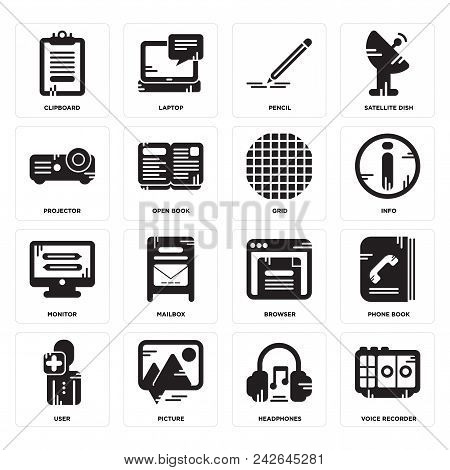 Set Of 16 Simple Editable Icons Such As Voice Recorder, Headphones, Picture, User, Phone Book, Clipb