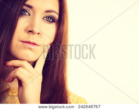 Portrait Of Young Funny Teenager Woman Having Happy Thinking Wondering Face Expression.