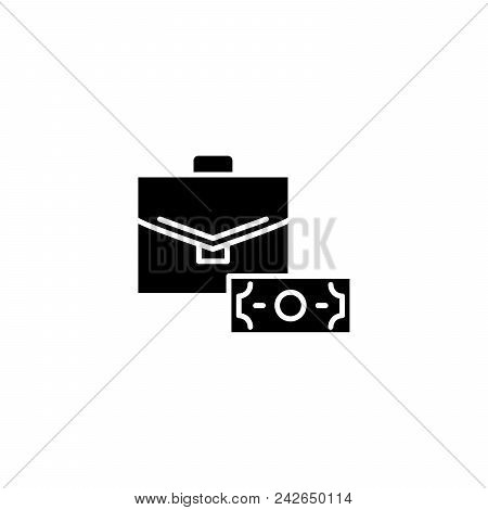 Official Bribery Black Icon Concept. Official Bribery Flat  Vector Website Sign, Symbol, Illustratio
