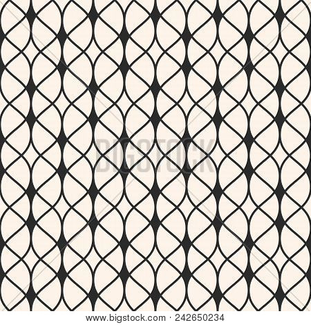 Vector Seamless Pattern. Abstract Graphic Monochrome Background With Thin Wavy Lines, Delicate Latti