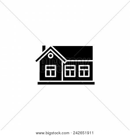 One-storey House Black Icon Concept. One-storey House Flat  Vector Website Sign, Symbol, Illustratio