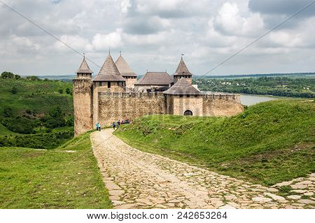 Khotyn, Ukraine - May 19, 2018: Khotyn Fortress On The Dniester River On A Cloudy Day, Western Ukrai