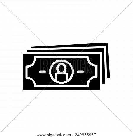 Paper Money Black Icon Concept. Paper Money Flat  Vector Website Sign, Symbol, Illustration.