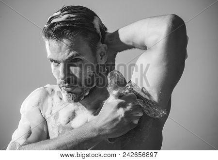 Nude Sexy Man Washing Upper Body In Bathroom. Sexy Man Is Washing Body With Sponge, Caring Body. Han