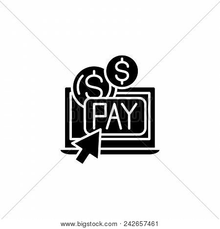 Pay Per Click Black Icon Concept. Pay Per Click Flat  Vector Website Sign, Symbol, Illustration.