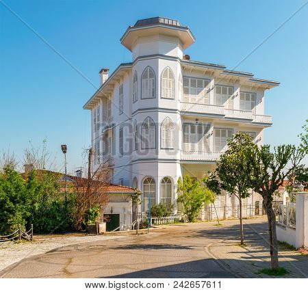 Istanbul,turkey. April 27, 2017: Traditional Multi Stories White Wooden House, Princess Island (buyu