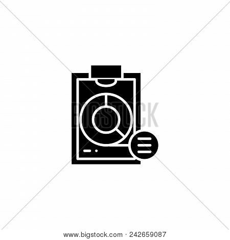 Pie Market Chart Black Icon Concept. Pie Market Chart Flat  Vector Website Sign, Symbol, Illustratio