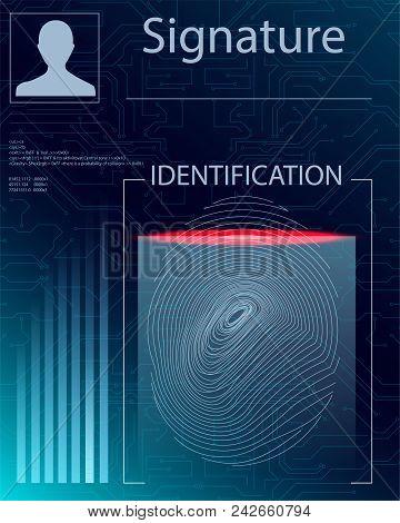 Fingerprint Scanning Technology Concept Illustration. Identification System Scanning.