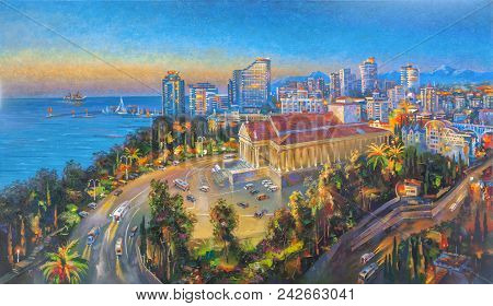 Artwork: Evening Lights In Sochi. Author: Nikolay Sivenkov.