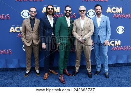 LAS VEGAS-APR 15: (L-R) Whit Sellers, Geoff Sprung, Matt Ramsey, Trevor Rosen & Brad Tursi of Old Dominion at the 53rd Annual Academy of Country Music Awards on April 15, 2018 at MGM Grand.