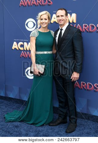 LAS VEGAS-APR 15: NFL player Drew Brees (R) and wife Brittany attend the 53rd Annual Academy of Country Music Awards on April 15, 2018 at the MGM Grand Arena in Las Vegas, Nevada.