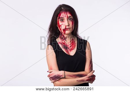 Beaten Sad Woman Victim Of Domestic Violence And Abuse Stands With Bruises And Wounds On Her Face An