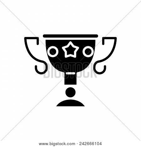 Prize bounty black icon concept. Prize bounty flat  vector website sign, symbol, illustration. poster
