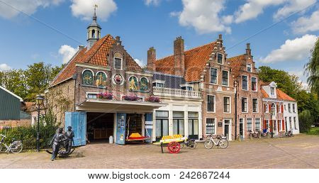 Edam, Netherlands - August 25, 2017: Panorama Of The Cheese Market In Edam, Holland
