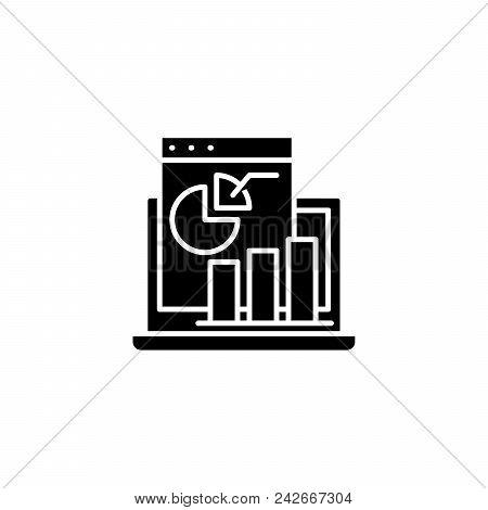 Profit And Loss Statement Black Icon Concept. Profit And Loss Statement Flat  Vector Website Sign, S