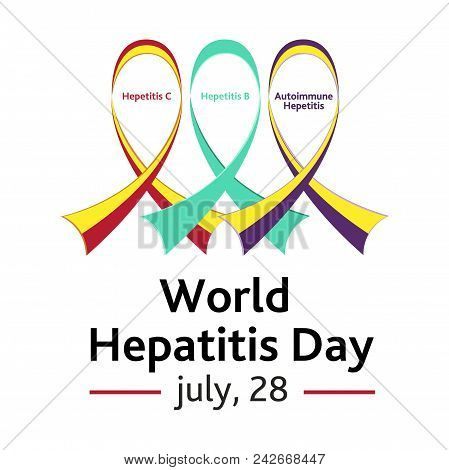 Vector Illustration For The World Hepatitis Day With The Image Of Three Ribbons Symbolizing The Type