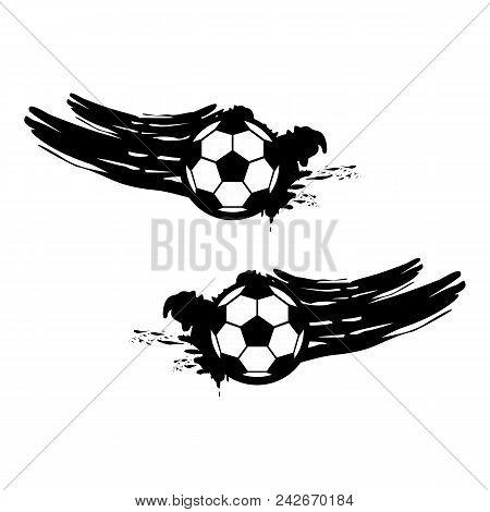 Soccer And Football Balls For Labels And Emblems. Vector Elements Set. Football Emblem, Label Ball S