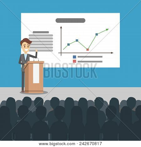 Business Presentation Illustration. Man Presenting With Board.