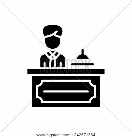 Reception Desk Black Icon Concept. Reception Desk Flat  Vector Website Sign, Symbol, Illustration.