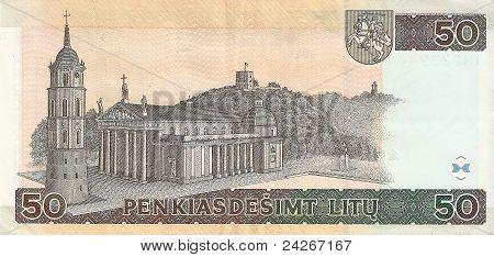50 Lithuanian litas (2003), the flip side. poster
