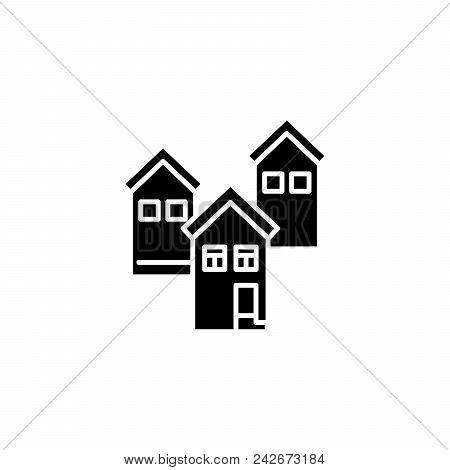 Residential Block Black Icon Concept. Residential Block Flat  Vector Website Sign, Symbol, Illustrat
