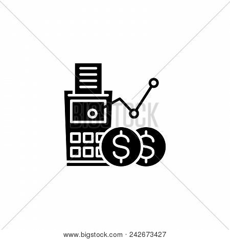 Revenue Calculation Black Icon Concept. Revenue Calculation Flat  Vector Website Sign, Symbol, Illus
