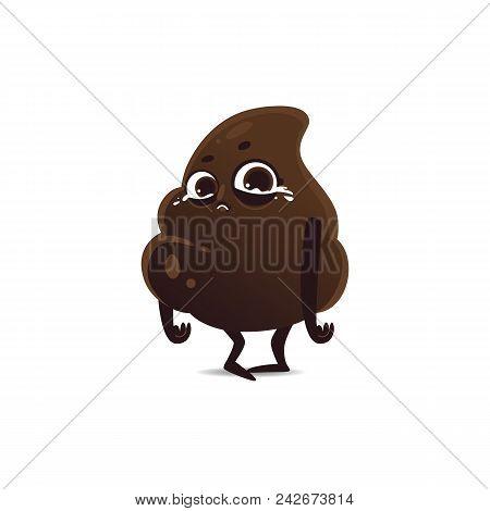 Cheerfu Brown Poop Character With Legs And Arms Standing With Sad Facial Expression Crying With Tear