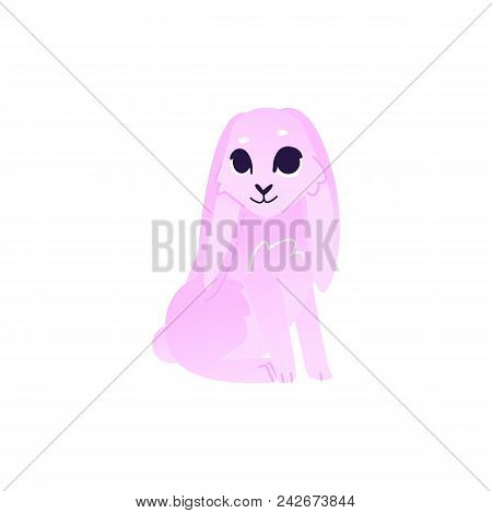Cute Rabbit With Pink Fur Sitting Isolated On White Background. Cartoon Cute Colorful Fluffy Bunny C
