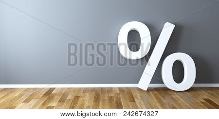 Percentage sign leaning on wall. 3d rendering