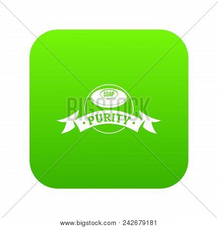 Soap Purity Icon Green Vector Isolated On White Background