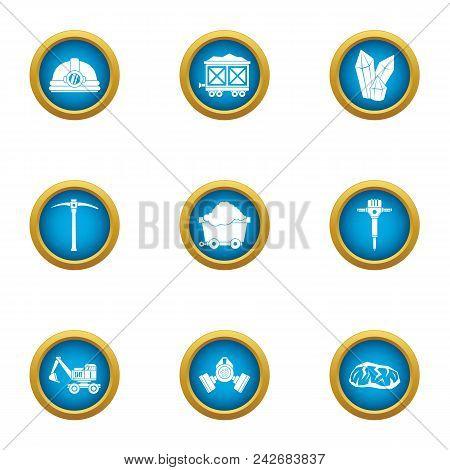 Mineral Extraction Icons Set. Flat Set Of 9 Mineral Extraction Vector Icons For Web Isolated On Whit