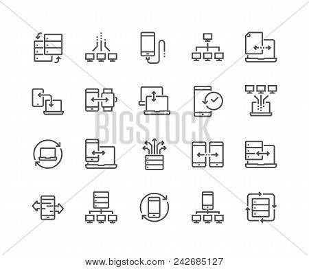 Simple Set Of Data Exchange Related Vector Line Icons. Contains Such Icons As Phone Backup, Traffic,