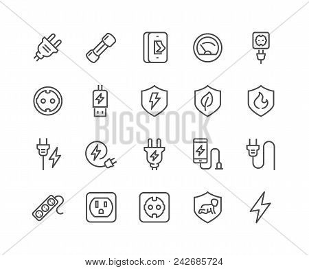 Simple Set Of Surge Protector Related Vector Line Icons. Contains Such Icons As American European So
