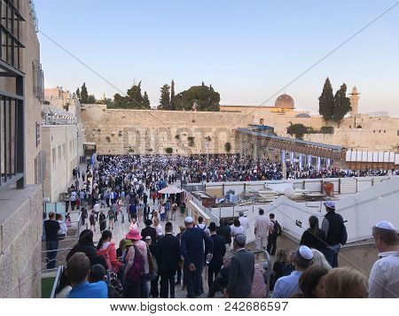 Jerusalem - May 11; 2018: Worshipers Gather At Temple Mount Western Wall. Temple Mount Is Seen As Th