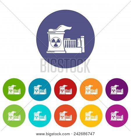 Atomic Reactor Icons Color Set Vector For Any Web Design On White Background