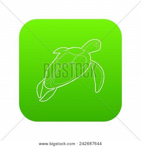 Turtle Icon Green Vector Isolated On White Background