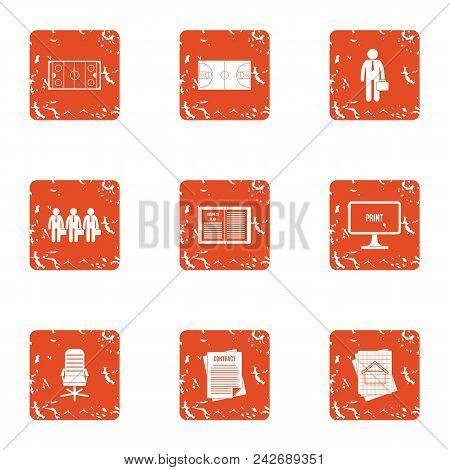 Organization Icons Set. Grunge Set Of 9 Organization Vector Icons For Web Isolated On White Backgrou