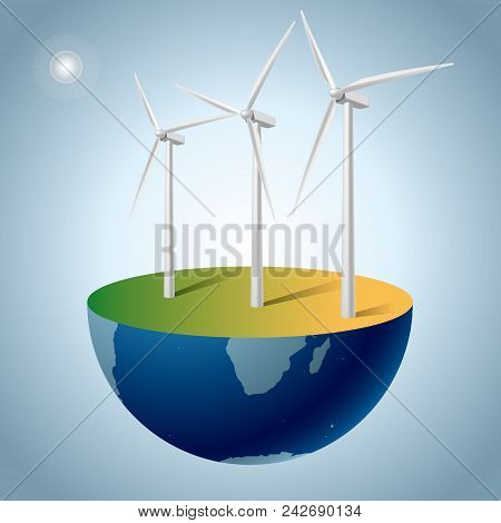 Alternative Energy Concept, Wind Generators On Earth.background Is Gray Gradient.
