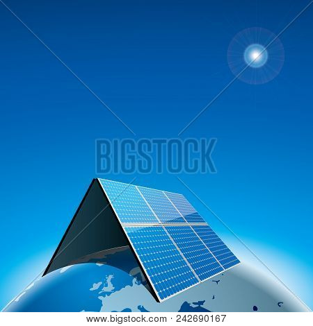 New Energy Concept Design On The Earth.background Is Blue.