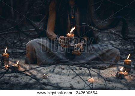 Woman Hands Holding Candle Close Up Witch Craft Concept
