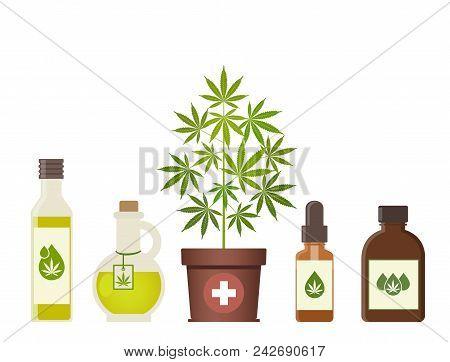 Marijuana Plant And Cannabis Oil. Medical Marijuana. Hemp Oil In A Jar. Cbd Oil Hemp Products. Oil G