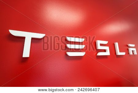 Raleigh, Nc - April 30, 2018: Tesla Sign On The Wall Inside A Tesla Store